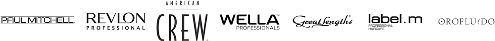 Unsere Friseur Partner: Paul Mitchell, Revlon, American Crew, Wella, Great Lengths Extensions, und Orofluido